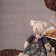 Toy handmade - bear. (Coffee concept) - Foto de Stock  