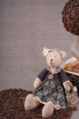 Toy handmade - bear. (Coffee concept) — Stock Photo