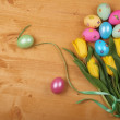 Stock Photo: Easter Eggs and Tulips