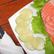 Salted salmon steak — Stock Photo