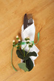 Cutlery wrapped in a napkin (table appointments) — Stock Photo