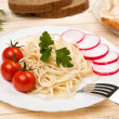 Spaghetti with vegetables — Stock Photo