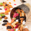 Cornucopia with dried fruit — Stock Photo