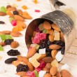 Cornucopia with dried fruit - Stock Photo