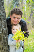 Father and son outdoors — Stock Photo