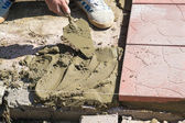 Laying of paving slabs — Stock Photo