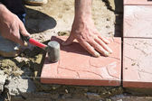 Installation of paving slabs — Stock Photo