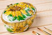 Art painting on ceramics - flowers — Stock Photo