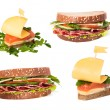 Collection of sandwiches with red fish and sausage — Stock Photo