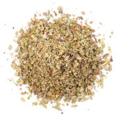 Dried marjoram on a white background - top view — Stock Photo