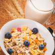 Muesli with blueberries for breakfast — Stock Photo