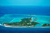View from the plane on the island located in the Maldives — Stock Photo