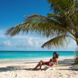 Girl on beach (Maldives Lhaviyani Atoll) — Stock Photo #32267121