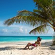 Stock Photo: Girl on beach (Maldives Lhaviyani Atoll)