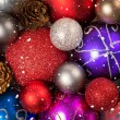 Christmas background with the balls and snowflakes — Stok fotoğraf