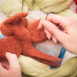 Stock Photo: Felting wool as hobby