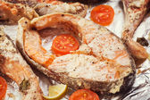 Baked trout steak in cream sauce with vegetables — Stock Photo