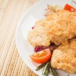Fresh chicken cutlets with vegetables. Background — Stock Photo