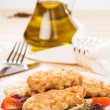 Fresh chicken cutlets with vegetables — Stock Photo