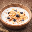 Muesli with yogurt and fresh blueberries. Healthy breakfast — Stock Photo #41397957