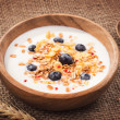 Muesli with yogurt and fresh blueberries. Healthy breakfast — Stock Photo
