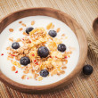 Muesli with yogurt and fresh blueberries. Healthy breakfast. — Stock Photo #42149921