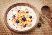 Muesli with yogurt and fresh blueberries. Healthy breakfast. — Stock Photo