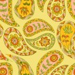 Royalty-Free Stock Vector Image: Summer yellow paisley floral ethnic pattern. Seamless background.