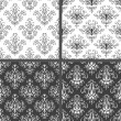 Set of seamless black and white floral damask patterns. — Stock Vector #25975939