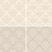 Set of seamless light creamy abstract damask patterns. — Stock Vector