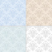 Set of summer seamless abstract damask patterns. — Stock Vector