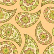 Summer paisley floral textile pattern. Seamless background — Imagen vectorial