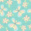 Vector de stock : Summer floral pattern with butterflies.