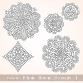 Ethnic design round elements. Vintage decorative elements — Stock Vector
