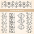 Decorative lace floral borders. — Stock Vector