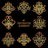 Golden decorative floral elements. — Stock Vector