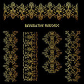 Golden florais faixas decorativas. — Vetor de Stock