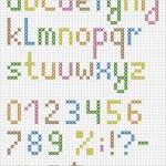 Colorful cross stitch lowercase english alphabet — Stock Vector