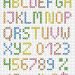 Stock Vector: Colorful cross stitch uppercase english alphabet