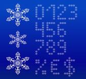 Winter white english alphabet with snowflakes. — Stock Vector