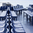 Blue seats on a traveling passenger ship — Stock Photo