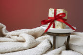 Handmade olive soap with a towel, as a gift. — Stock Photo
