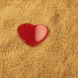 Stock Photo: Valentines Day, red heart on brawn sugar