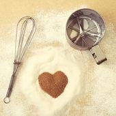 Vintage style photo. Valentines Day, heart of brawn sugar — Foto de Stock