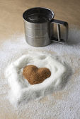 Valentines Day, heart of brawn sugar — Stock Photo