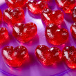 Stock Photo: Valentines day, red sweet candies in heart shape