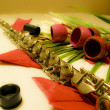 Stock Photo: Flute and flowers