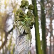 Statue in a cemetery at fall - Stock Photo