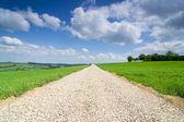 Blauwe hemel boven de grond weg — Stockfoto
