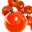Red tomato vegetable with cut isolated on white background — Stock Photo